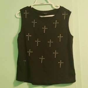 Forever 21 gothic rhinestone cross top